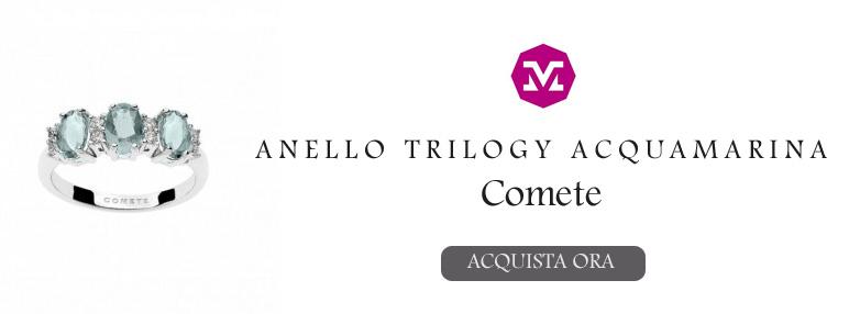 Anello Comete acquamarina trilogy